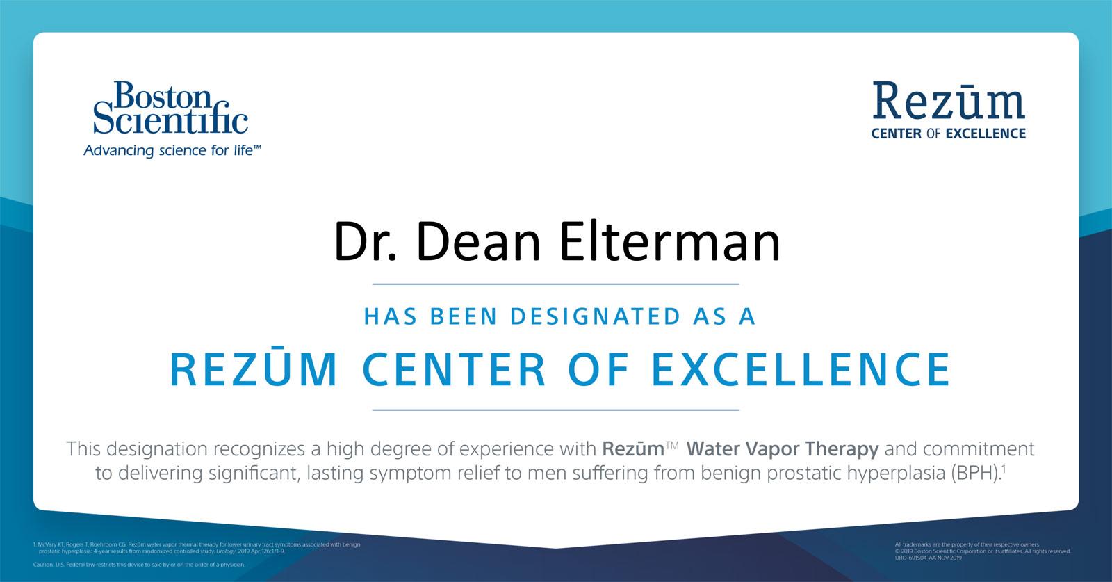Rezum Designated Center of Excellence